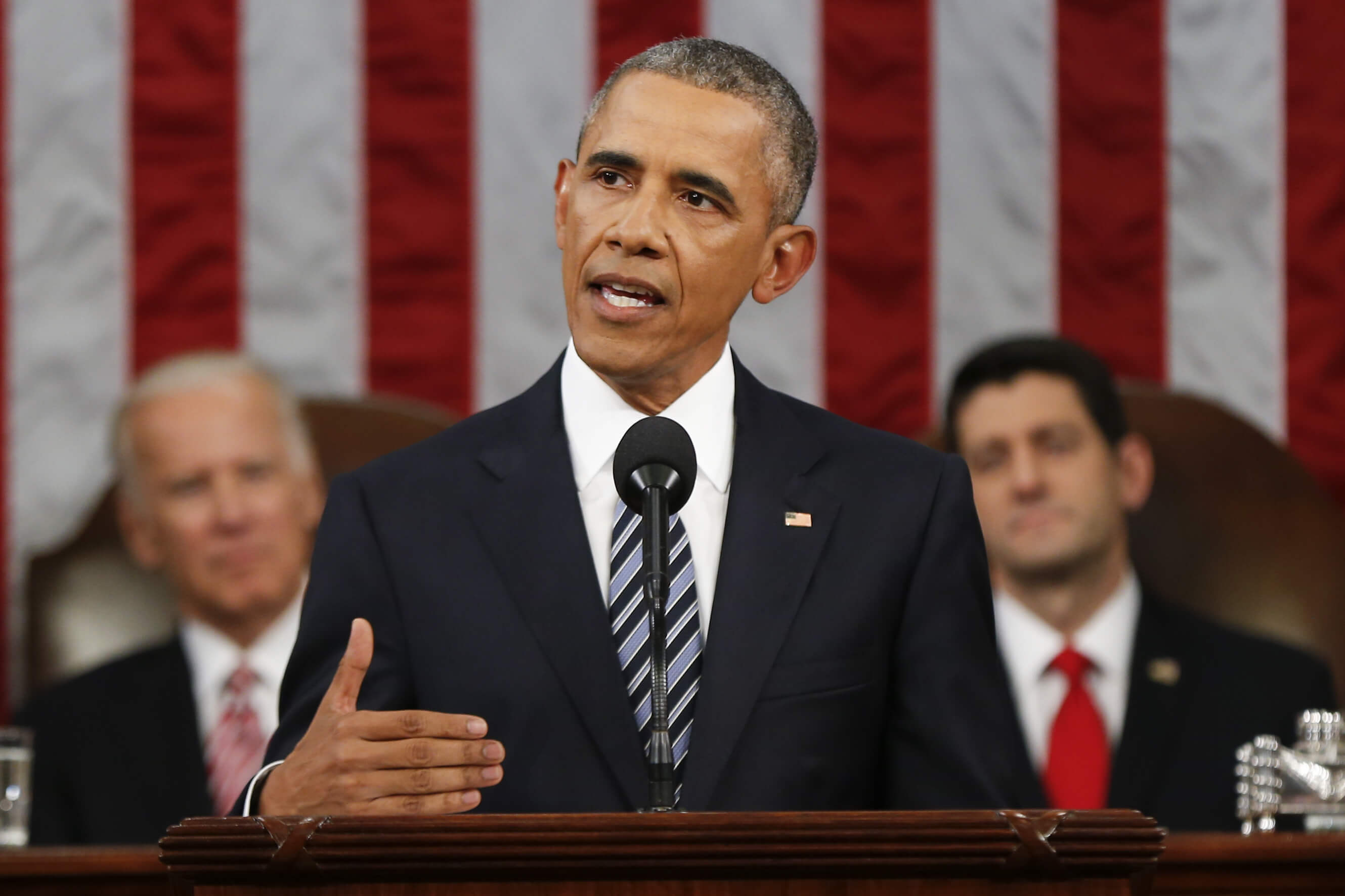 President Barack Obama delivers his State of the Union address before a joint session of Congress on Capitol Hill in Washington, Tuesday, January 12, 2016. (AP Photo/Evan Vucci, Pool)