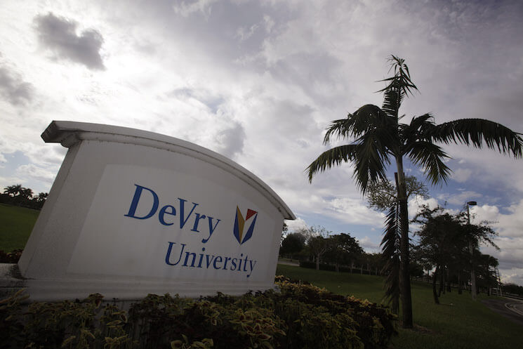 Photo of the for-profit DeVry University in Miramar, Fla. New research shows that default rates and debt burdens are rising among students at for-profit colleges.