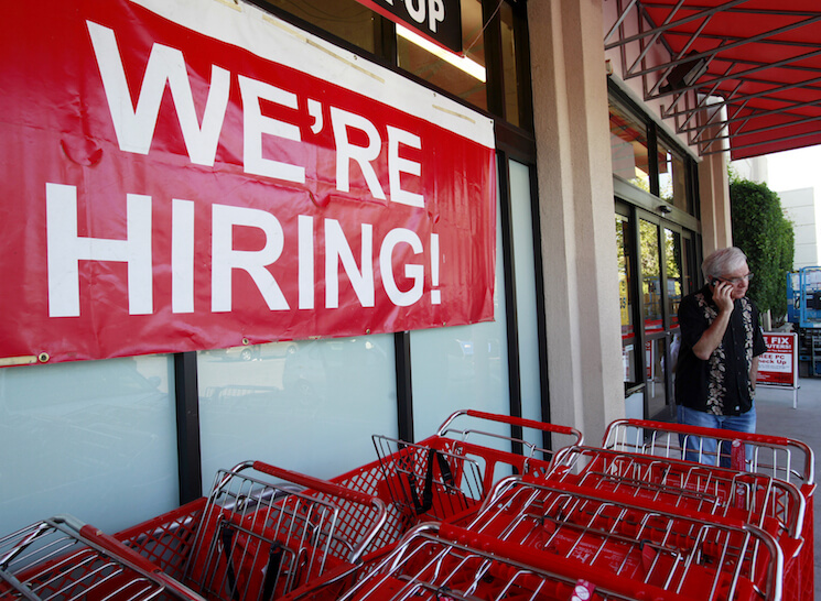 Hiring sign shown at Office Depot in Mountain View, Calif.