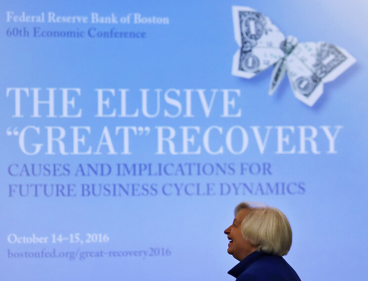 Federal Reserve Chair Janet Yellen smiles as she is introduced at an address at the Federal Reserve Bank of Boston in Boston, Friday, Oct. 14, 2016.