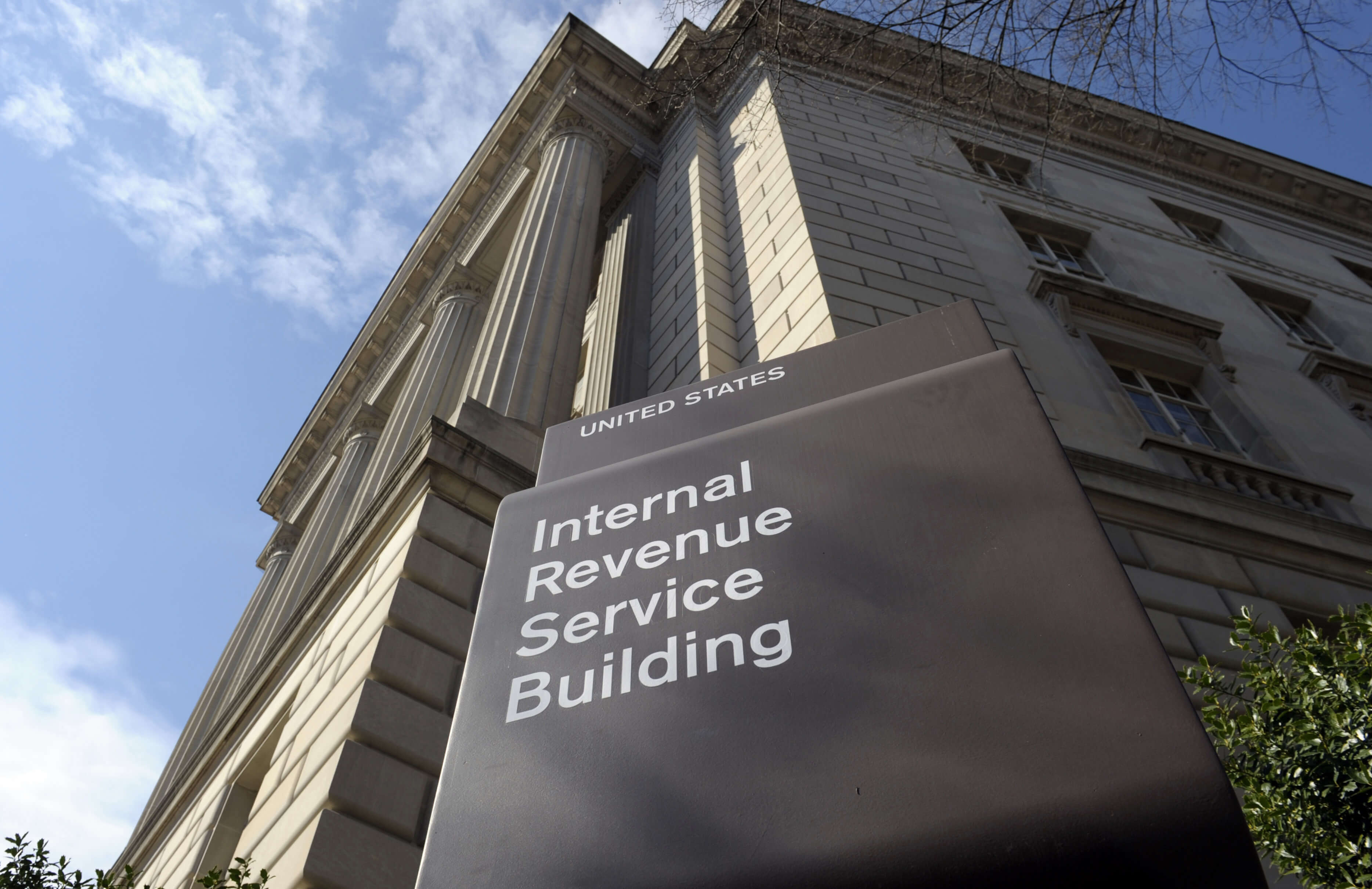 Photo of the exterior of the Internal Revenue Service (IRS) building in Washington.