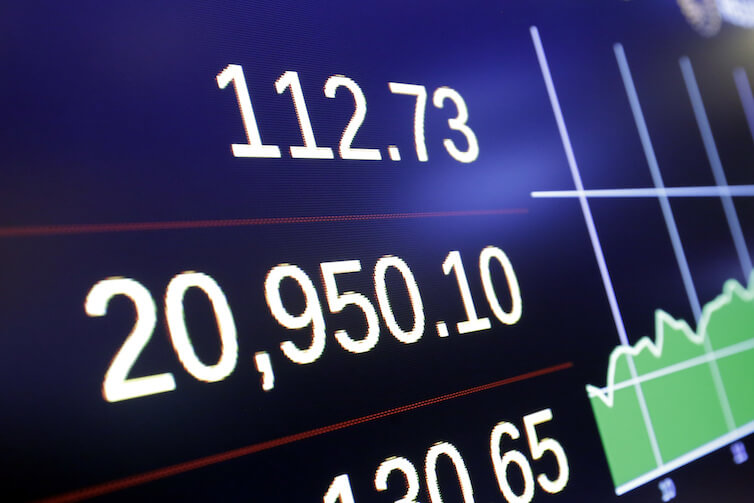 A screen on the floor of the New York Stock Exchange shows the closing number for the Dow Jones industrial average.