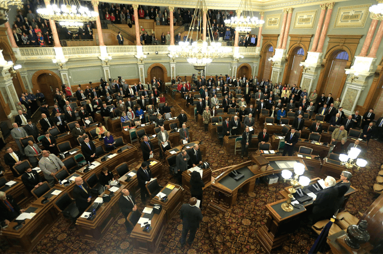 A joint session of the legislature meets in the House Chambers in Topeka, Kansas.