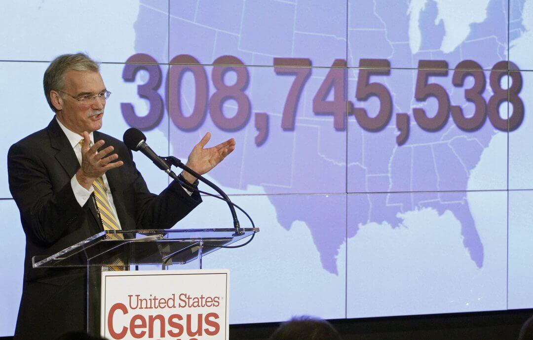 Former Census Bureau Director Robert Groves announces results for the 2010 U.S. census at the National Press Club, December 21, 2010, in Washington.