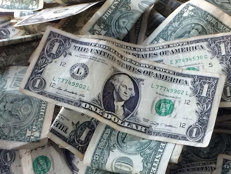 Dollar bills in New York.