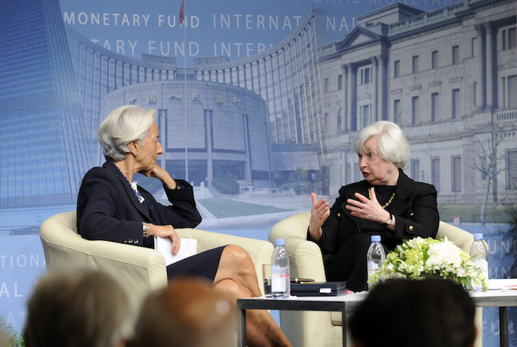 International Monetary Fund Managing Director Christine Lagarde, left, listens as Federal Reserve Chair Janet Yellen, right, speaks during a conversation at the IMF.
