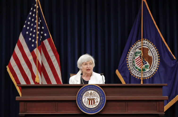 Current Federal Reserve Chair Janet Yellen speaks during a news conference in Washington, D.C.