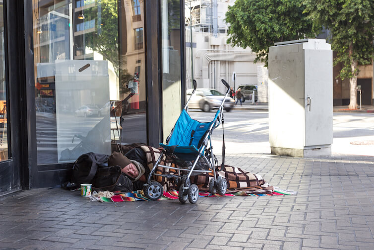 A homeless person is seen on Skid Row in Los Angeles, California. Income inequality has risen dramatically in the United States, as compared to countries in Eastern and Western Europe, according to a new report.