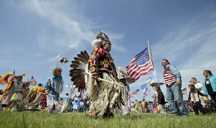 Members of the Standing Rock Sioux Tribal Nation dance during a Cannon Ball flag day celebration in North Dakota. Research presented at the Freedom & Justice Conference in June highlights the difficulty in studying Native Americans due to a lack of high-quality data.