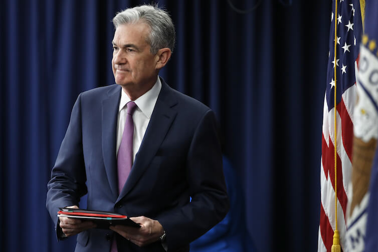 Federal Reserve Chair Jerome Powell arrives to a news conference after a Federal Open Market Committee meeting in Washington, D.C.