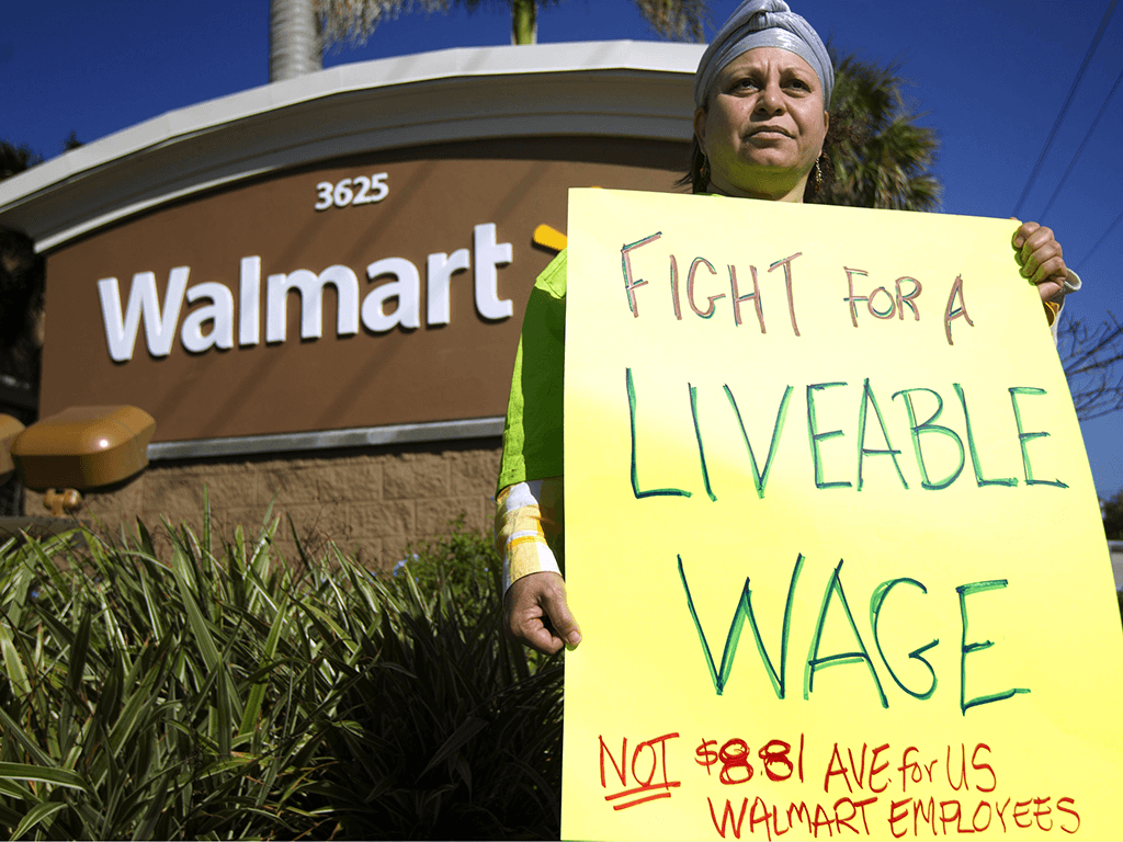 Wal-Mart employees and union supporters took part in a nationwide demonstration for better pay and benefits Friday, Nov 23, 2012. A union-backed group called OUR Walmart, which includes former and current workers, staged the demonstrations and walkouts at hundreds of stores.