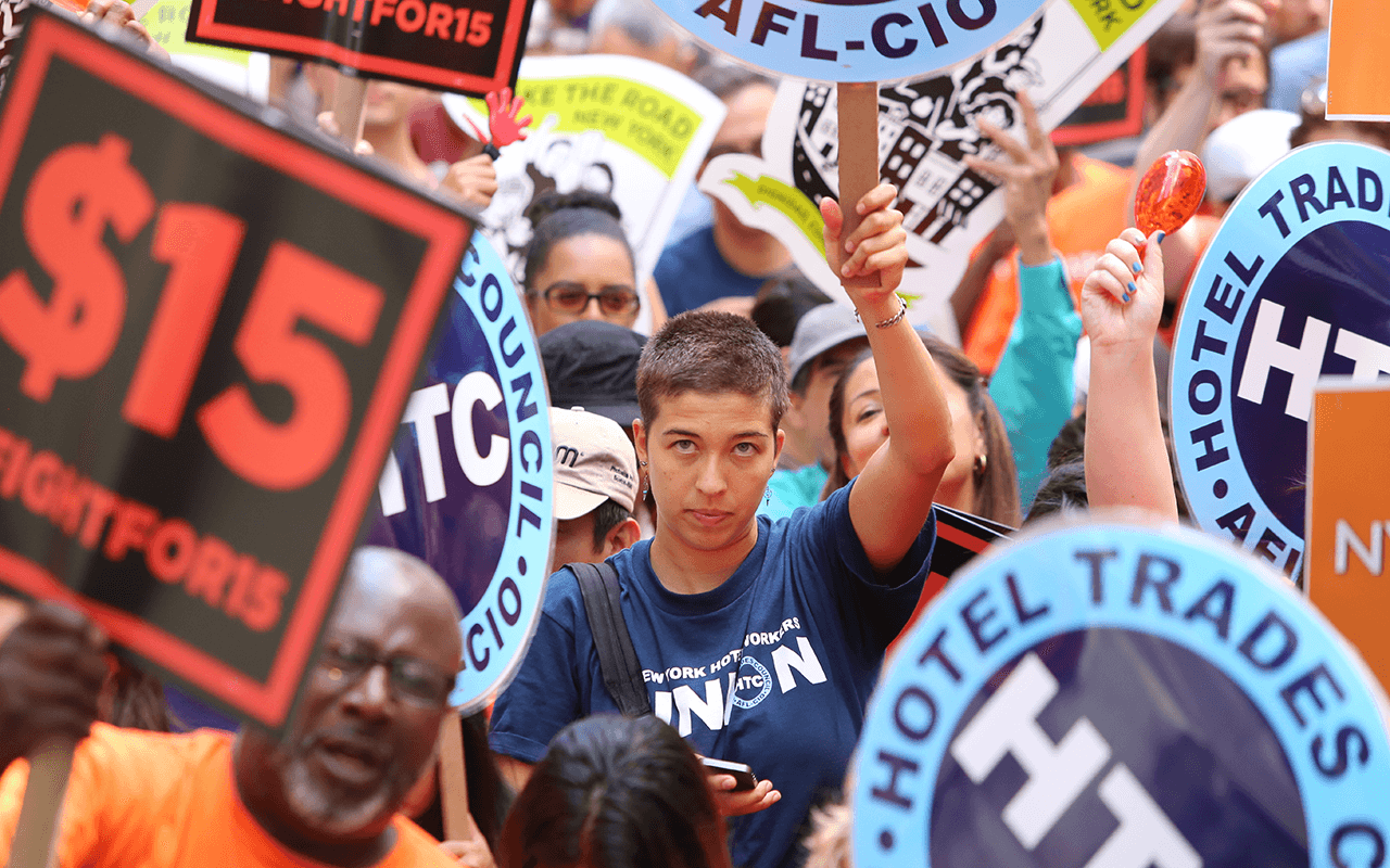 NEW YORK CITY – JULY 12, 2015: Organized labor, fast food workers, and elected officials gathered on Barclay St. to celebrate the NY wage board's recommendation for a $15/hr minimum wage statewide by 2021.
