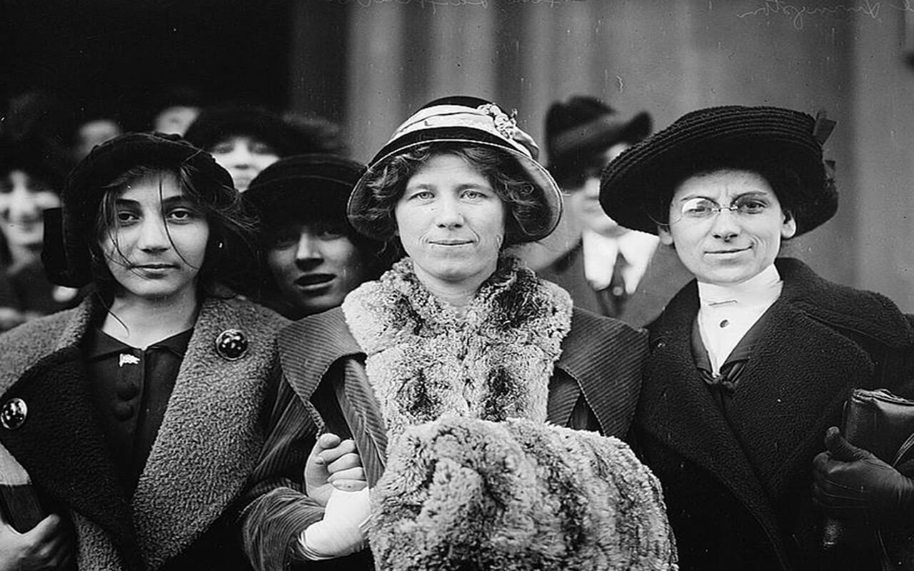 "Suffrage and labor activist Flora Dodge ""Fola"" La Follette (1882-1970), social reformer and missionary Rose Livingston, and a young striker during a garment strike in New York City in 1913."