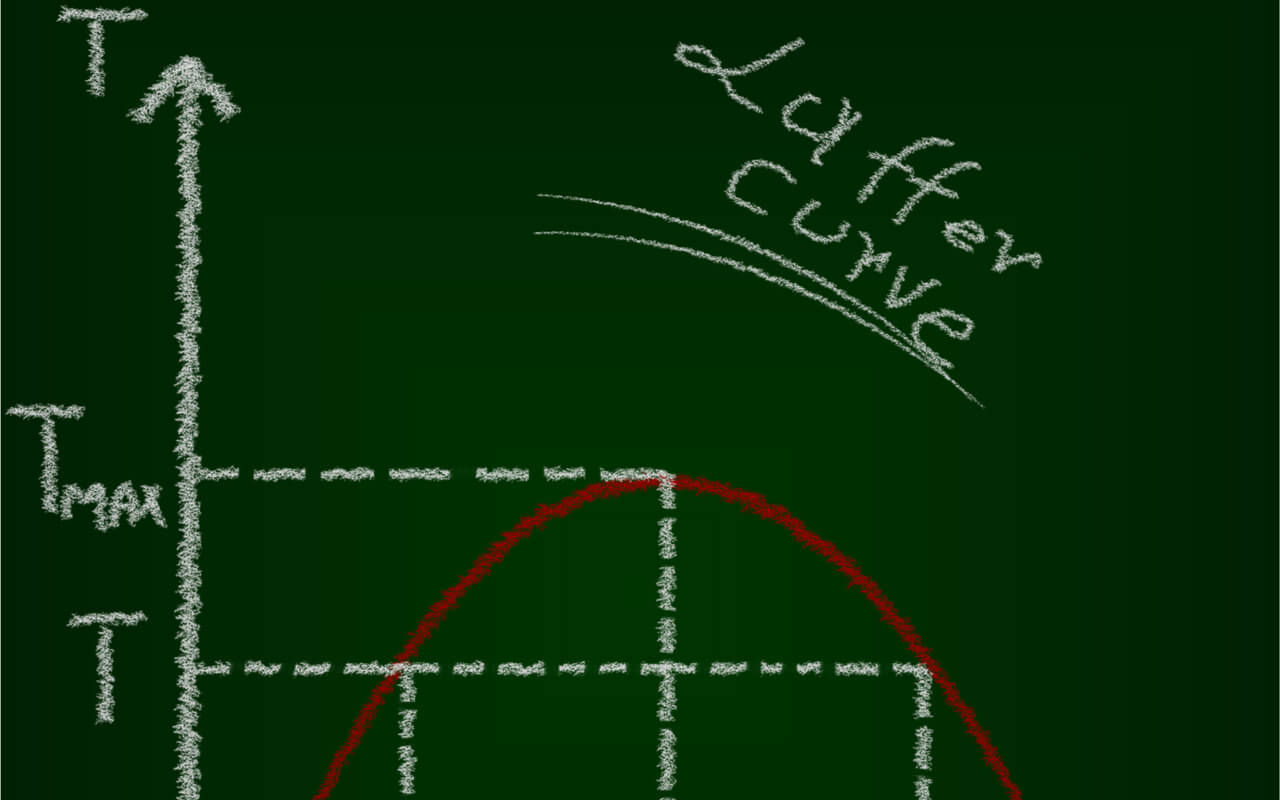 The Laffer curve shows a theoretical relationship between rates of taxation and the resulting levels of government revenue.