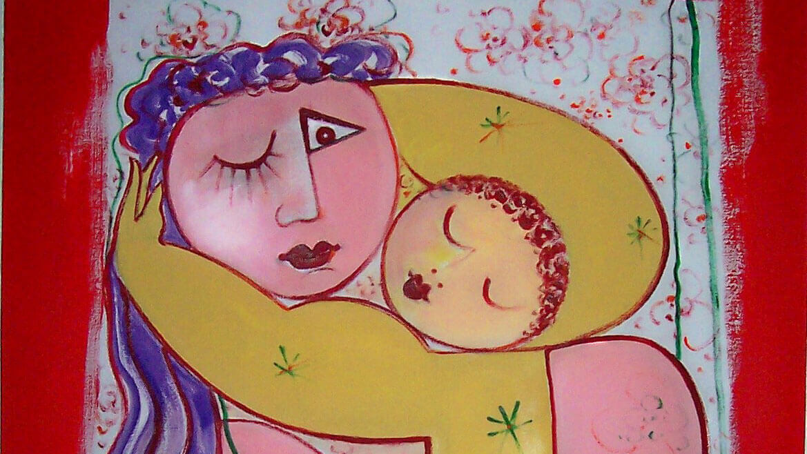 The photo above is a partial representation of <em>Mother with child</em>—an oil on canvas work by Emilia Bayer, 2008.