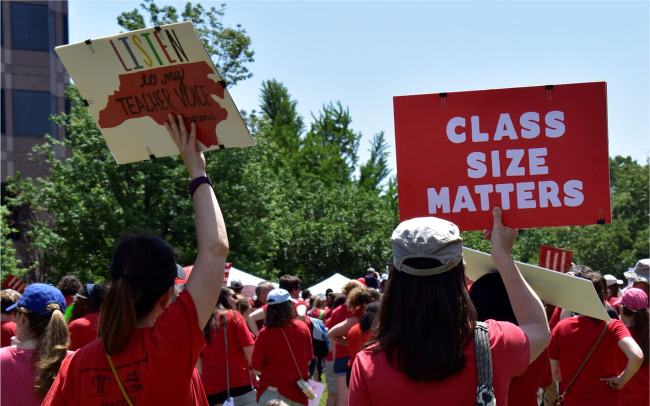 Teachers rally in downtown Raleigh, N.C., demanding more support for public schools from law makers, May 1, 2019.