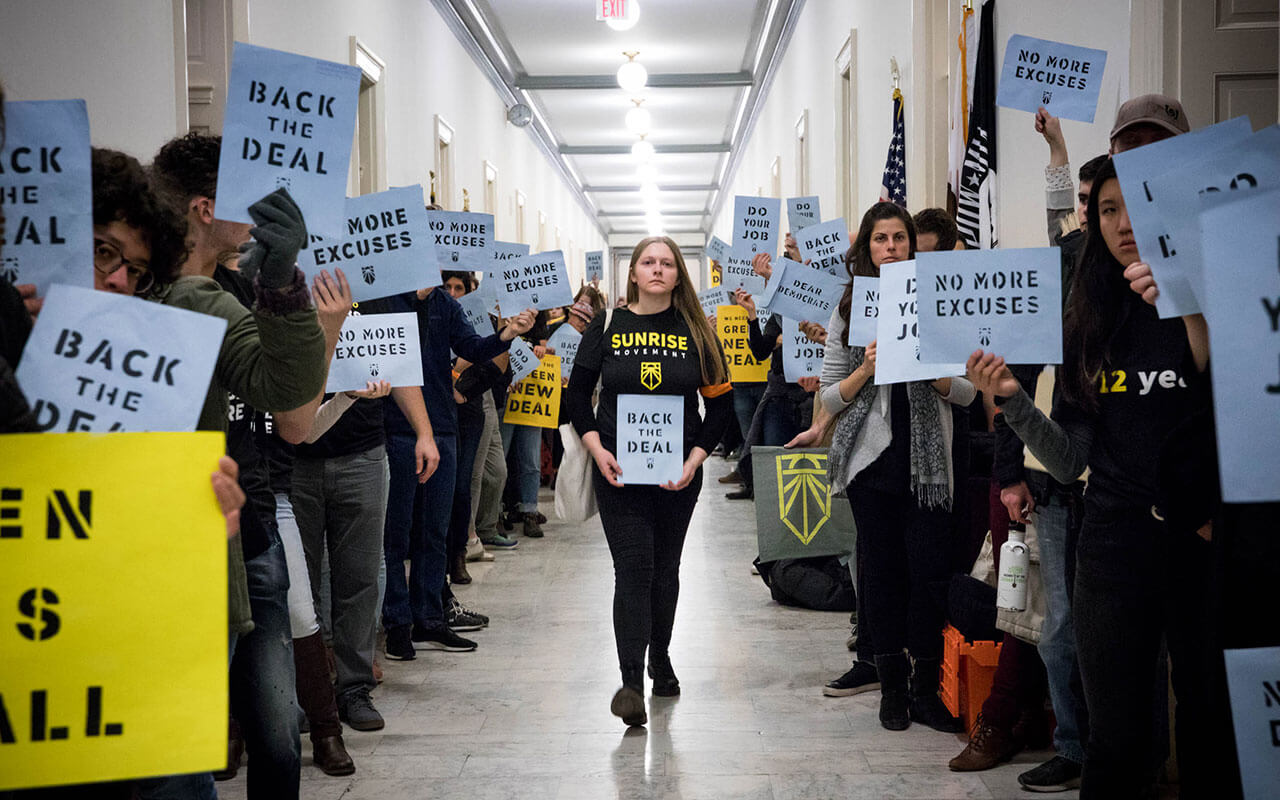 Hundreds of young people occupy Representative offices in Washington, D.C. to pressure the new Congress to support a committee for a Green New Deal, December 10, 2018.