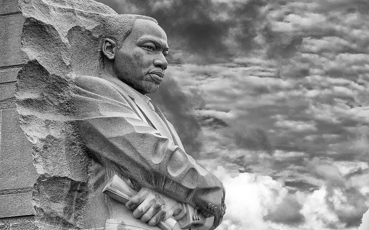 The Martin Luther King, Jr. memorial seen here, Stone of Hope, is located in Washington, D.C., next to the National Mall.