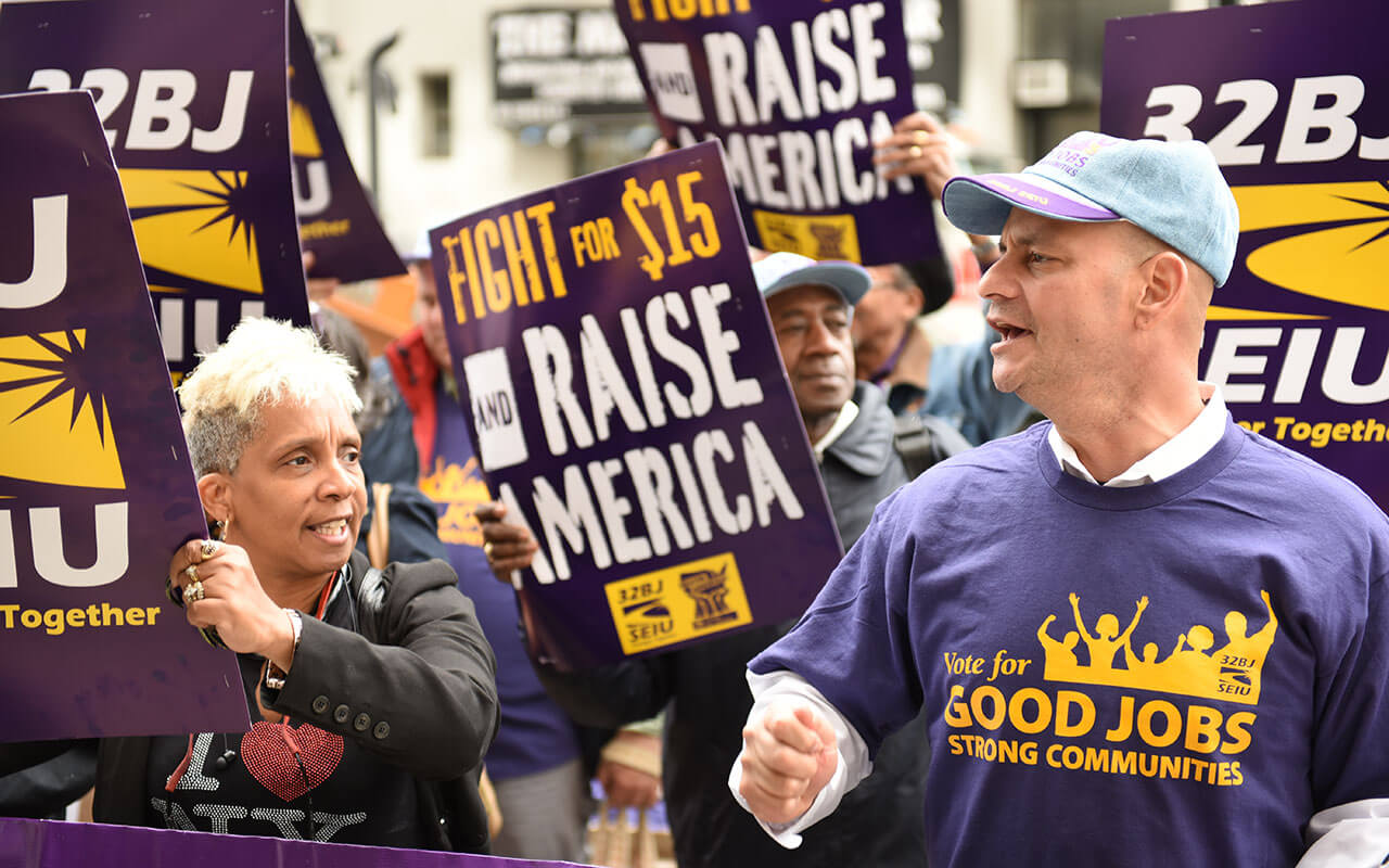 Union and labor activists gathered along Varick Street to urge the NY Wage Board on its first ever meeting to seek a $15 per hour minimum wage, May 20, 2015.