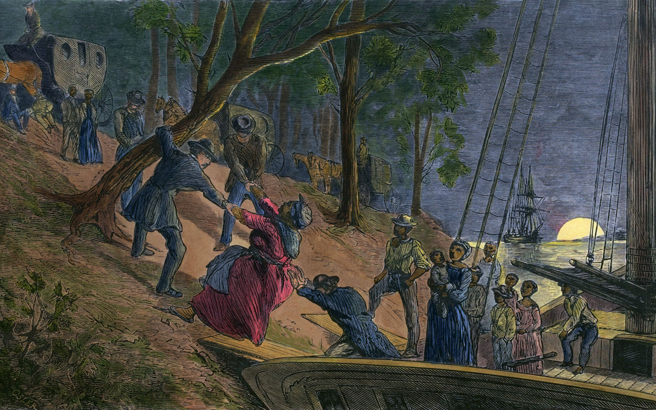 Fifteen fugitive slaves arriving in Philadelphia along the banks of the Schuylkill River in July 1856.