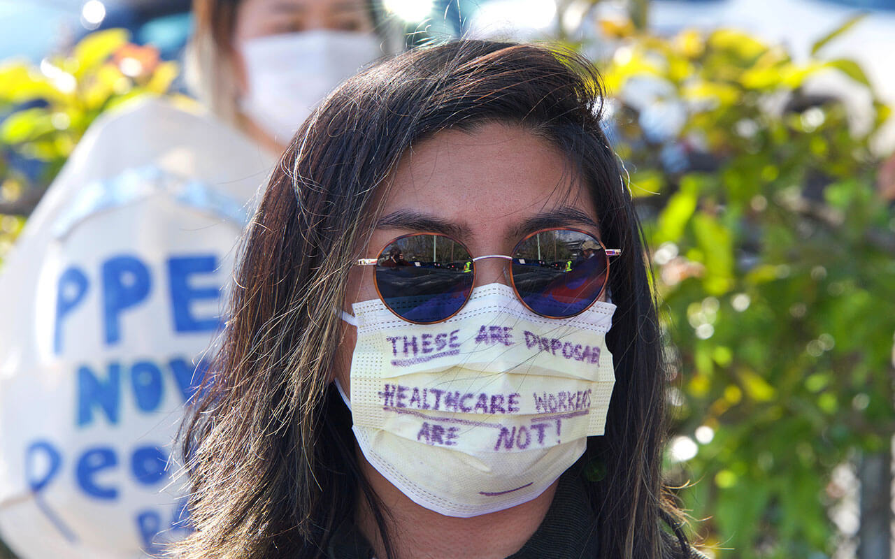 Nurses at Alameda Hospital protest inadequate Personal Protective Equipment, or PPE, among other concerns, on April 7.