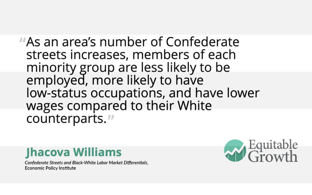 Quote from Jhacova Williams on Confederate street names and minority employment and wages