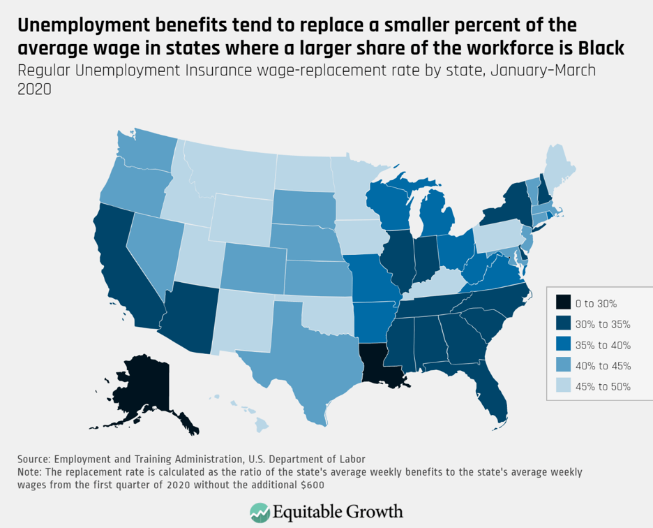 Regular Unemployment Insurance wage-replacement rate by state, January–March 2020