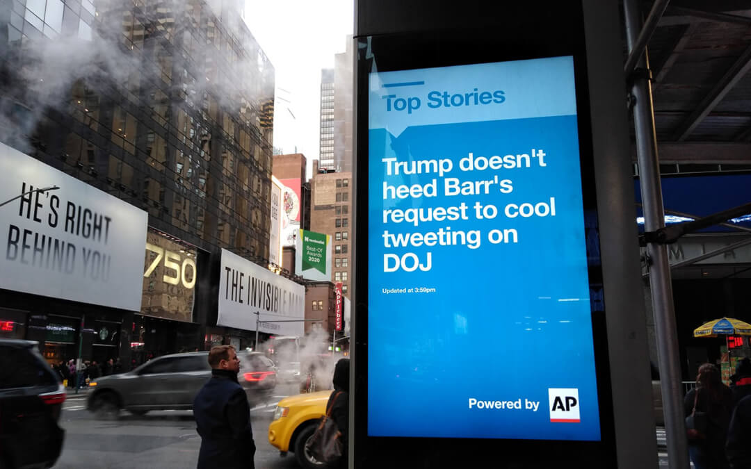 A top story posted on a LinkNYC near Times Square in New York City, February 2020.