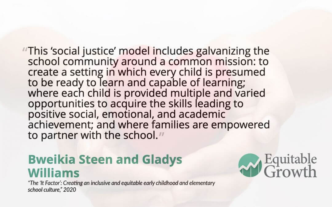 Quote from Bweikia Steen and co-author on inclusive and equitable early childhood schools