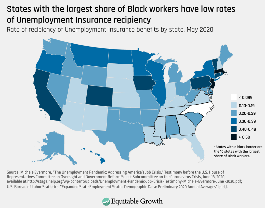Rate of recipiency of Unemployment Insurance benefits by state, May 2020