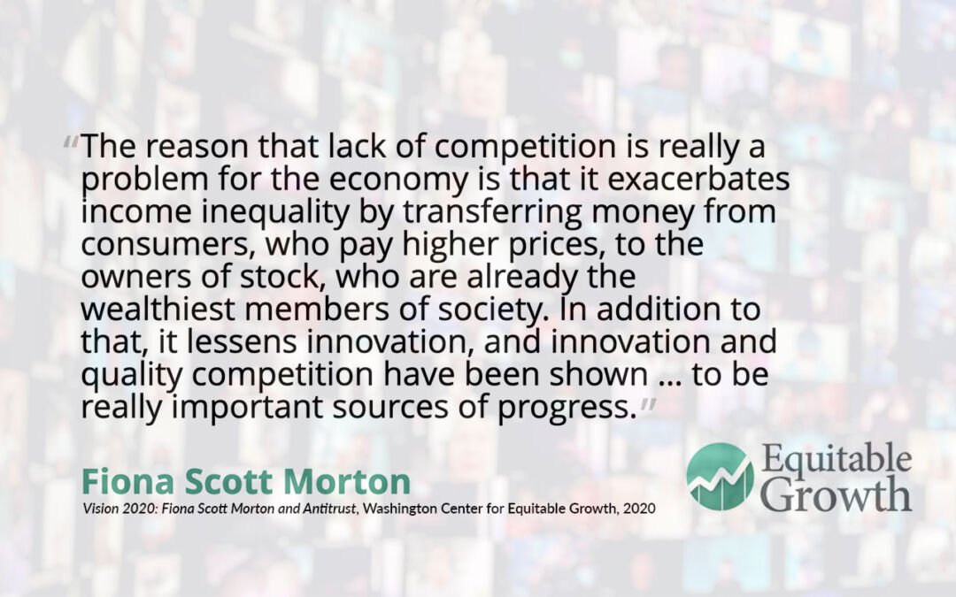Quote from Fiona Scott Morton on the lack of competition as a problem for the economy